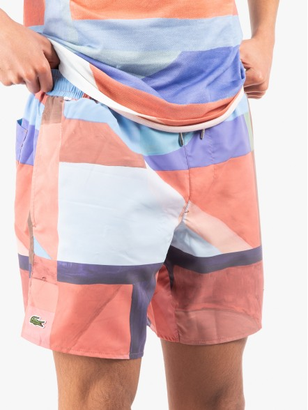 Lacoste Lace-Up Waist Print Swimming Trunks | Fuxia