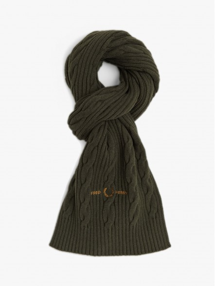 Fred Perry Cable Branded Scarf | Fuxia