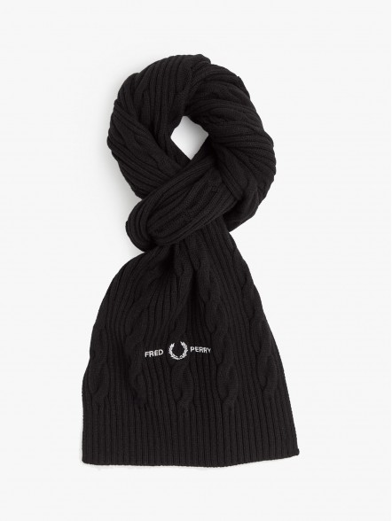 Fred Perry Cable Branded Scarf   Fuxia